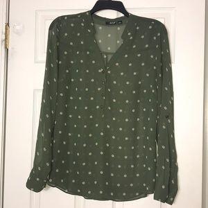 A.N.A sheer olive green blouse Sz L